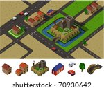 Castle countryside. Set of very detailed isometric vector - stock vector