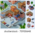Rest Area and Cafe. Set of very detailed isometric vector - stock vector