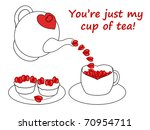 Teapot pouring hearts into cup, with a plate of cupcakes - stock photo