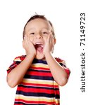 Child expressing surprise and happiness over white background - stock photo