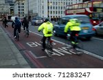 rush hour, city workers going to work - stock photo