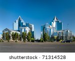 Business Center Nurly Tau in Almaty, Kazakhstan. - stock photo