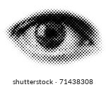halftone human eye - stock vector