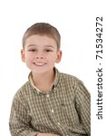 Portrait of little boy in checkered shirt  isolated on white background - stock photo