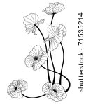 vector illustration of the poppies in black and white colors - stock vector