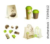 Promotional \ advertising set. Coffee mugs, and packaging. - stock vector