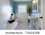 Green blue antique Luxury bathroom in an old house in Tacoma, WA - stock photo