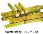 Short Stumps Of Sugarcane Isolated On White Background - stock photo