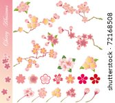 Cherry blossoms icons set. Illustration vector. - stock vector