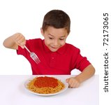 kid ready to eat a big plate of spaghetti, on white background - stock photo