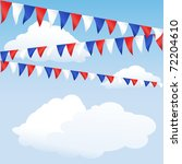 Red white and blue bunting. English or USA colours, suitable for 4th of July, Queen's Jubilee or Royal Wedding background. Space for text. EPS10 vector format. - stock vector