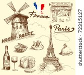 france-original hand drawn collection - stock vector