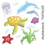 Set of sea animals: starfish, seaweed, fish, jellyfish, dolphin, turtle - stock vector