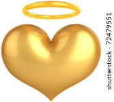 Heart Love Angel golden symbol. In Love we trust concept. Holy heaven paradise abstract. This is a detailed render 3d (Hi-Res). Isolated on white background - stock photo