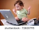 "Baby sitting on top of laptop looking confused with hands in the air as if to say ""What happened to the file?"" It disappears from the hard drive. - stock photo"