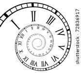 Spiral Roman Numeral Clock Time-Line - stock vector