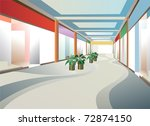 corridor in mall with windows, vector - stock vector