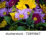 ultra colorful summer bouquet - stock photo
