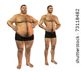 3d rendering of a fat man before and after weight loss than illustration - stock photo