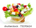Greek salad on white isolated background - stock photo