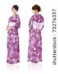 Japanese woman in traditional clothes of Kimono with front and back view, full length portrait isolated on white background. - stock photo