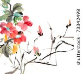 Chinese traditional painting of ink artwork with colorful flowers on white art paper. - stock photo