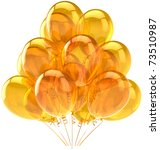 Gold party balloons yellow translucent. Beautiful golden Happy Birthday celebration decoration. Joy fun happiness holiday positive emotion concept. Detailed 3d render. Isolated on white background - stock photo