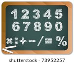 Vector - Chalk Numbers on Blackboard - stock vector