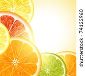 Vector background for design with fruits of an orange, a lemon, grapefruit and Lima - stock vector