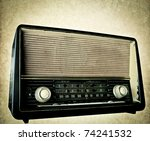 retro-styled  radio - stock photo
