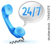 support center call icon 24 hours 7 day - stock photo