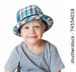 Portrait of the little boy. Age 3 years. Isolated on white . - stock photo