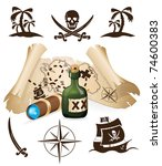 Treasure map, pirate collection - stock vector