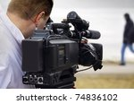 tv reportage - stock photo