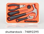Tools in the toolbox - stock photo