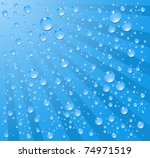 water drop blue background - stock vector