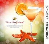 Orange cocktail in a glass and a starfish - stock vector