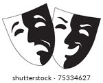 theater black and white emotion masks, vector - stock vector