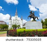 Saint Louis Cathedral and statue of Andrew Jackson in the Jackson Square New Orleans - stock photo
