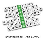 Quality service features crossword on white background 3d render - stock photo