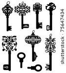 A collection of silhouettes of old keys - stock vector