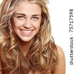 beautiful natural make-up woman with blond long hair in curly hairstyle smiling at camera isolated on white - stock photo