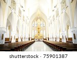 Inside A Catholic Church - Adjudeni -Romania - stock photo
