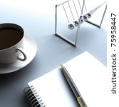 Note pad, pen and cup of coffee - stock photo