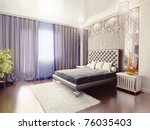 modern luxury  bedroom interior (3D rendering) - stock photo