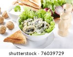 salad with mushroom and smoked fish - stock photo