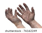 man with dirty hands - stock photo
