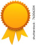 Award ribbon golden blank. Medal icon of winner with copy-space template design element. This is a high quality three-dimensional render cgi. Isolated on white background - stock photo