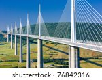 Millau Viaduct, Aveyron D?partement, France - stock photo