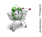 Shopping trolley and green alarm. - stock photo
